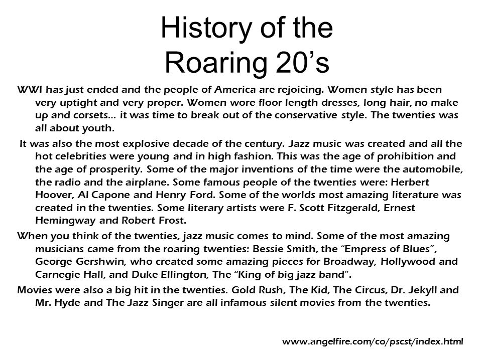 History of the Roaring 20's