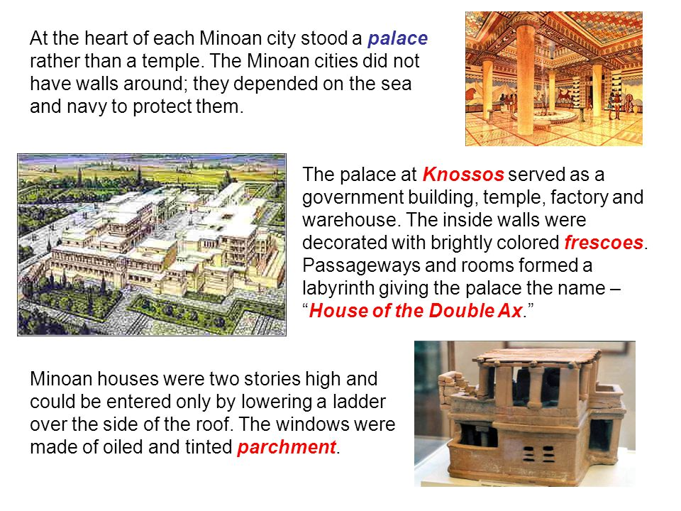 At the heart of each Minoan city stood a palace rather than a temple