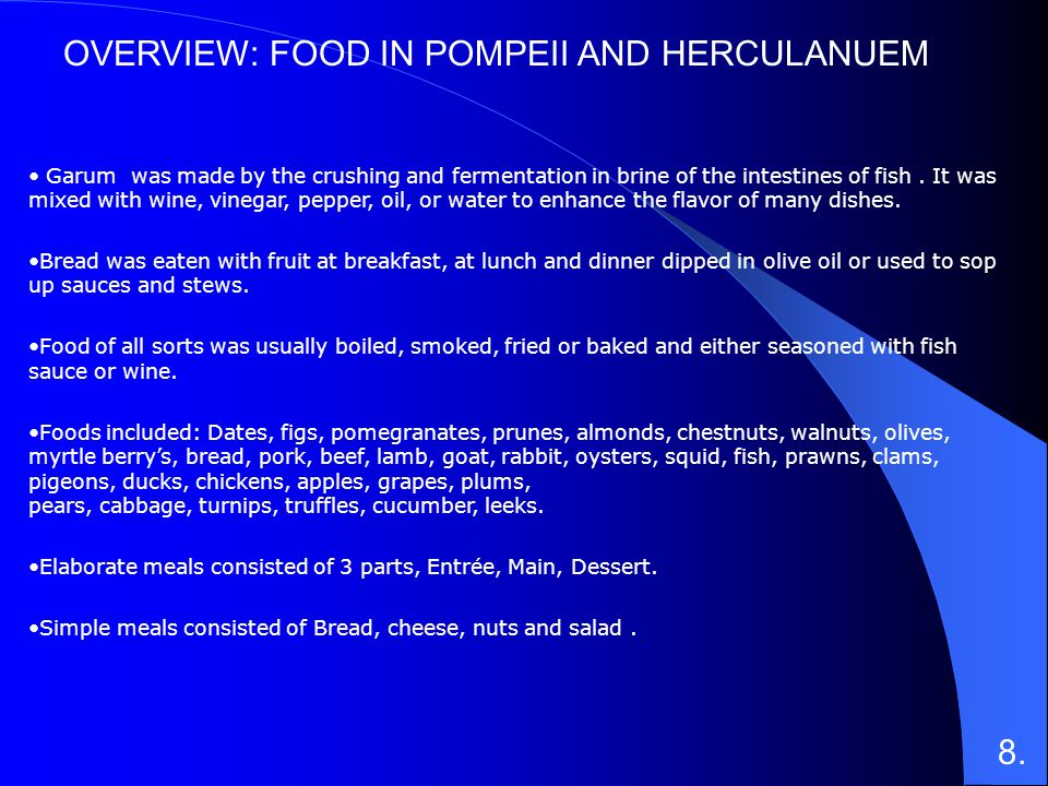 OVERVIEW: FOOD IN POMPEII AND HERCULANUEM
