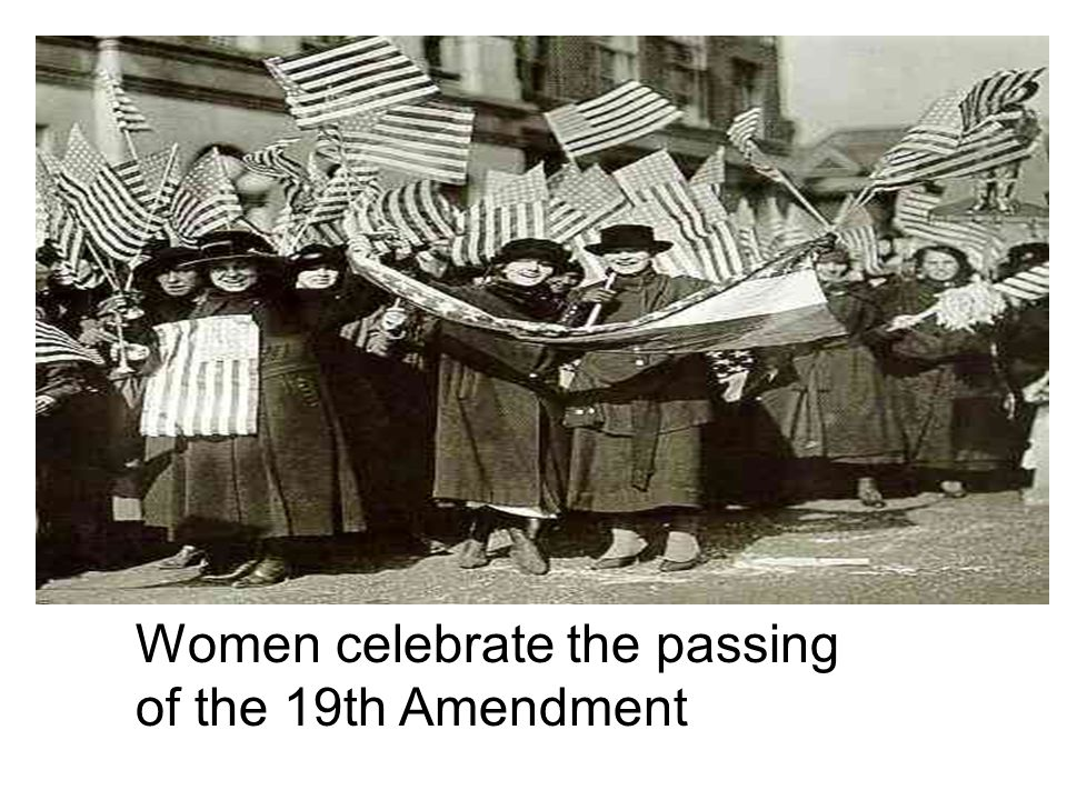 Women celebrate the passing of the 19th Amendment