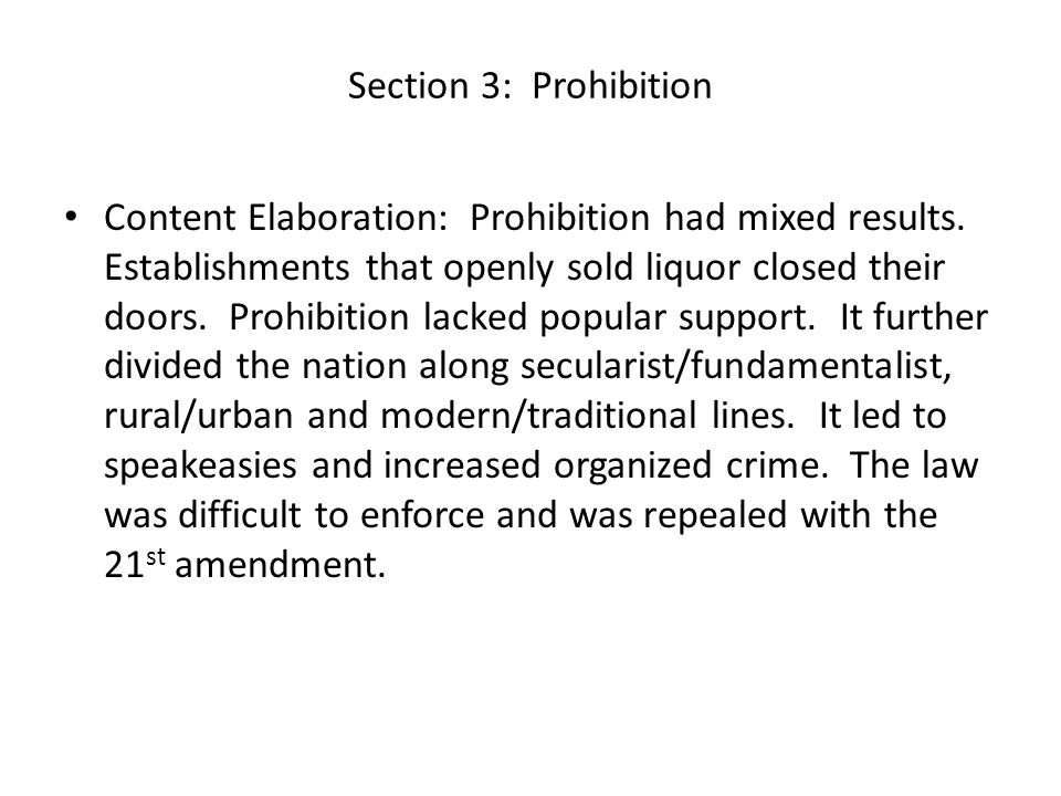 Section 3: Prohibition