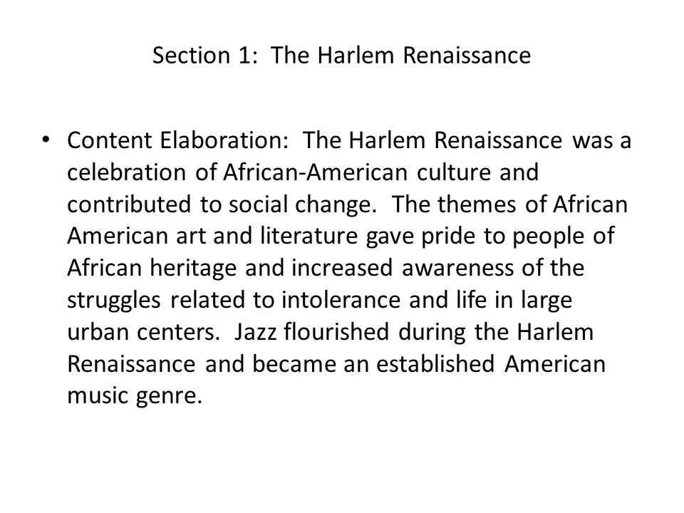 Section 1: The Harlem Renaissance