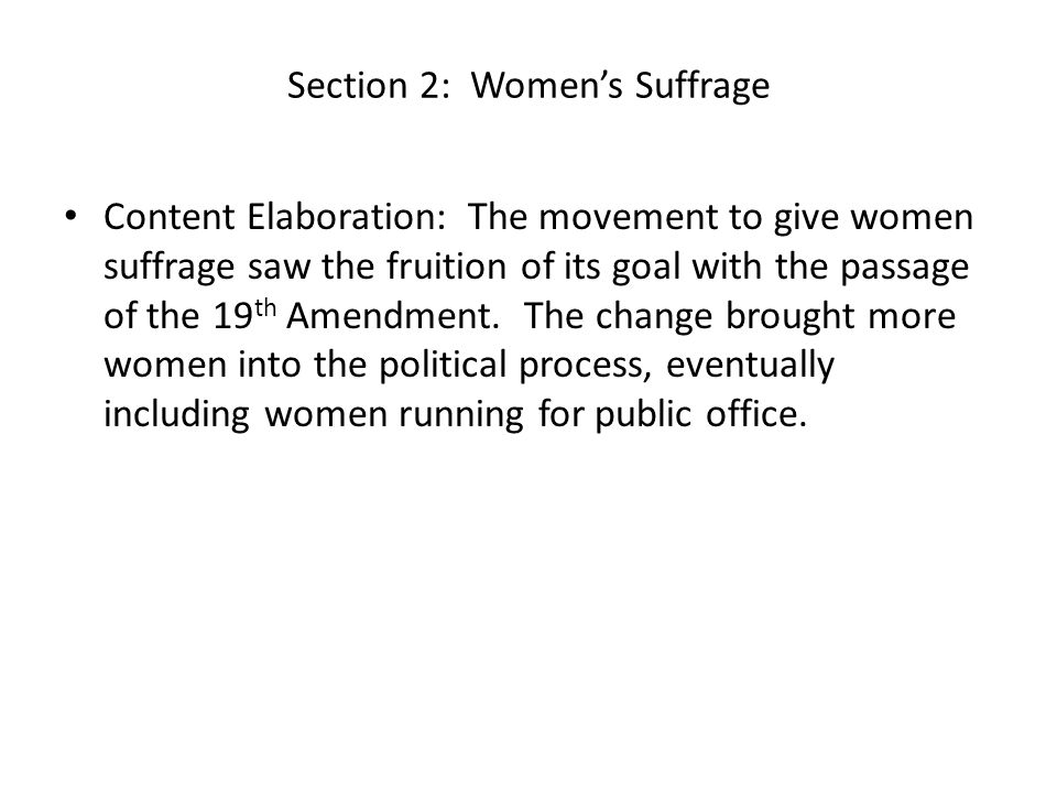 Section 2: Women's Suffrage