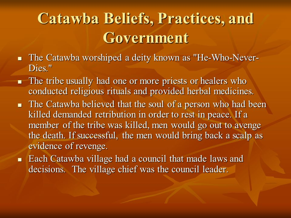 Catawba Beliefs, Practices, and Government