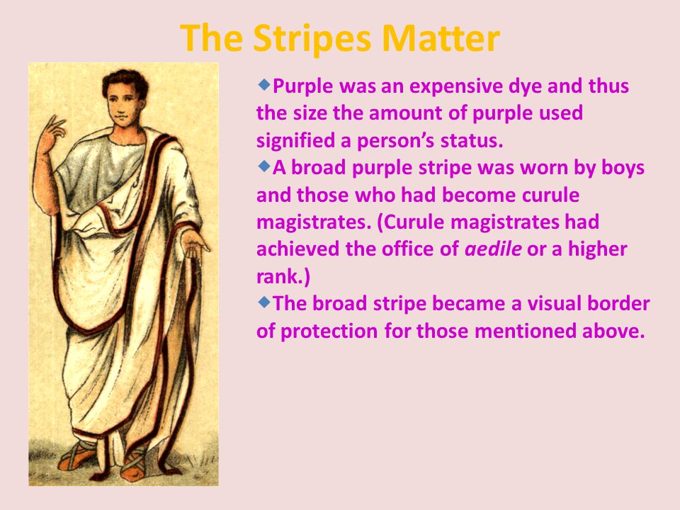 The Stripes Matter Purple was an expensive dye and thus the size the amount of purple used signified a person's status.