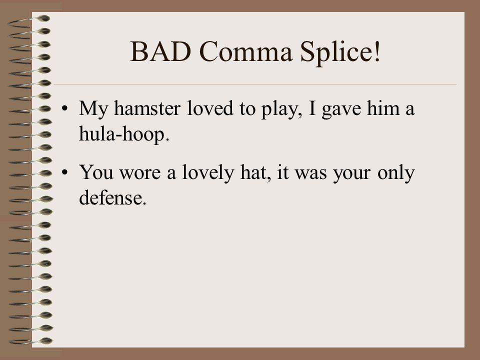 BAD Comma Splice! My hamster loved to play, I gave him a hula-hoop.
