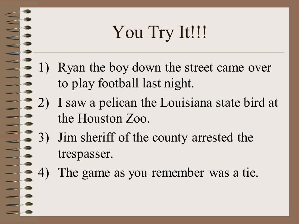 You Try It!!! Ryan the boy down the street came over to play football last night. I saw a pelican the Louisiana state bird at the Houston Zoo.