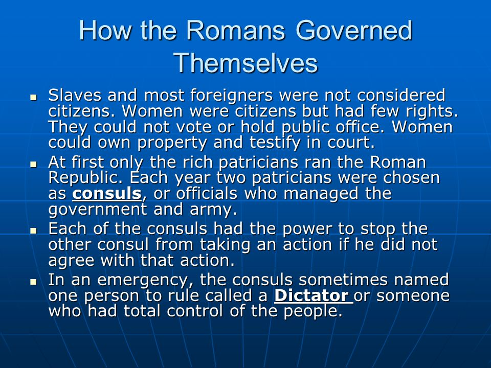How the Romans Governed Themselves