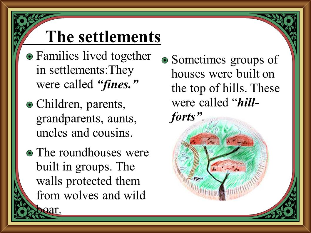 The settlements Families lived together in settlements:They were called fines. Children, parents, grandparents, aunts, uncles and cousins.