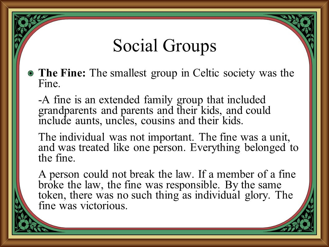 Social Groups The Fine: The smallest group in Celtic society was the Fine.