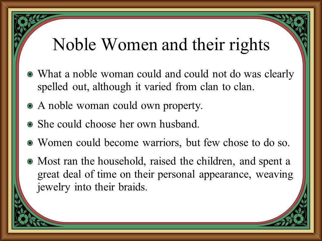 Noble Women and their rights