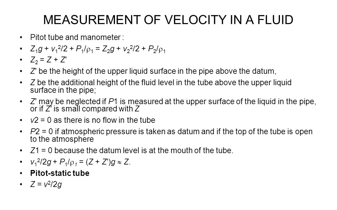 MEASUREMENT OF VELOCITY IN A FLUID