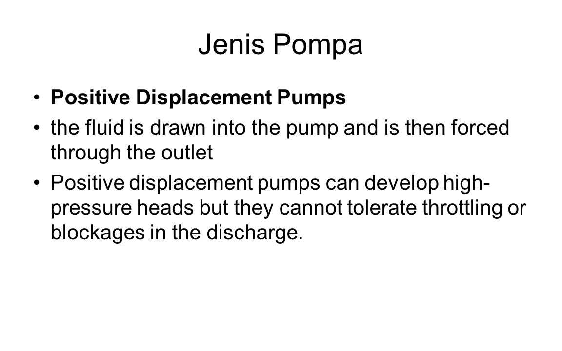 Jenis Pompa Positive Displacement Pumps