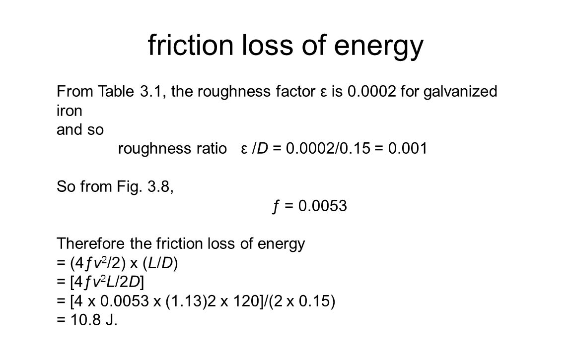 friction loss of energy