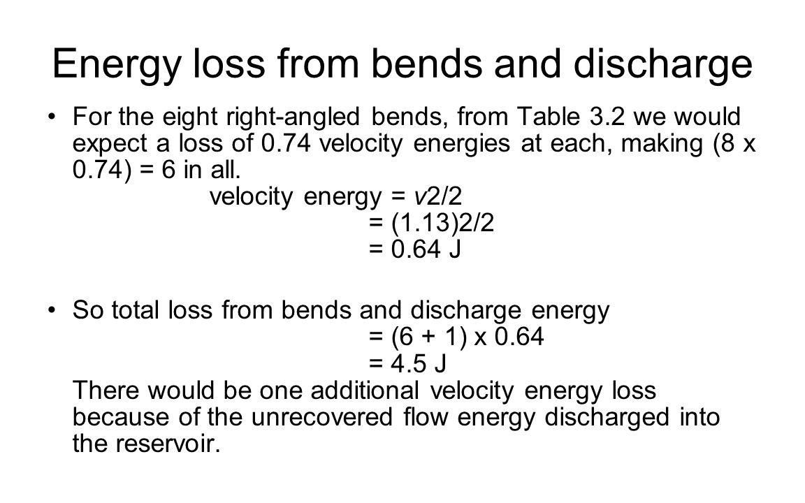 Energy loss from bends and discharge