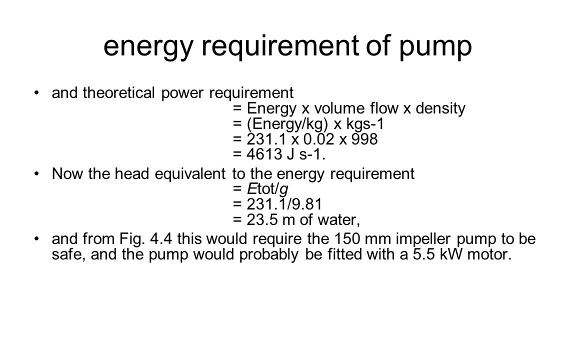 energy requirement of pump