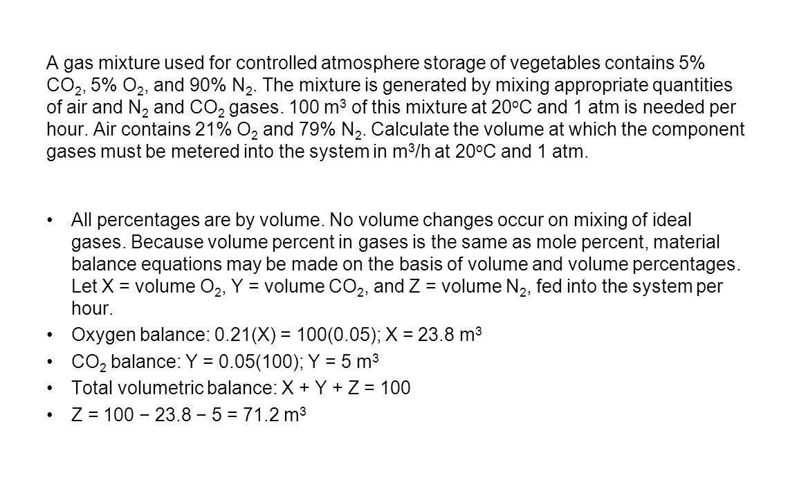 A gas mixture used for controlled atmosphere storage of vegetables contains 5% CO2, 5% O2, and 90% N2. The mixture is generated by mixing appropriate quantities of air and N2 and CO2 gases. 100 m3 of this mixture at 20oC and 1 atm is needed per hour. Air contains 21% O2 and 79% N2. Calculate the volume at which the component gases must be metered into the system in m3/h at 20oC and 1 atm.