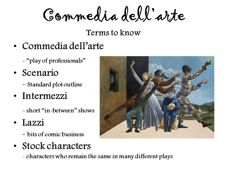 Commedia dell'arte Terms to know