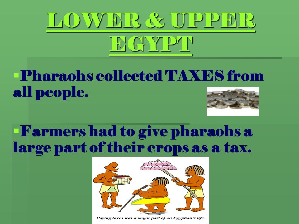LOWER & UPPER EGYPT Pharaohs collected TAXES from all people.