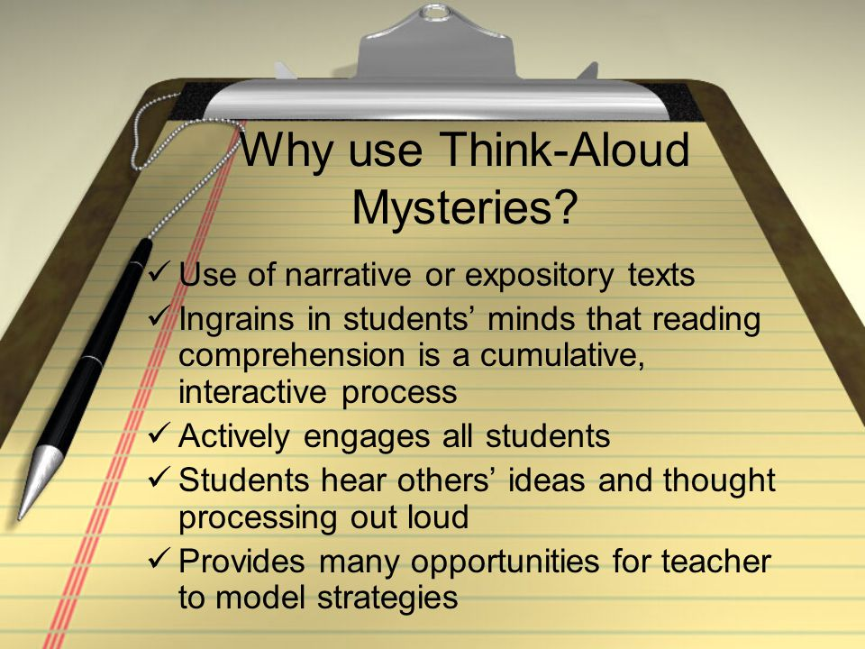Why use Think-Aloud Mysteries