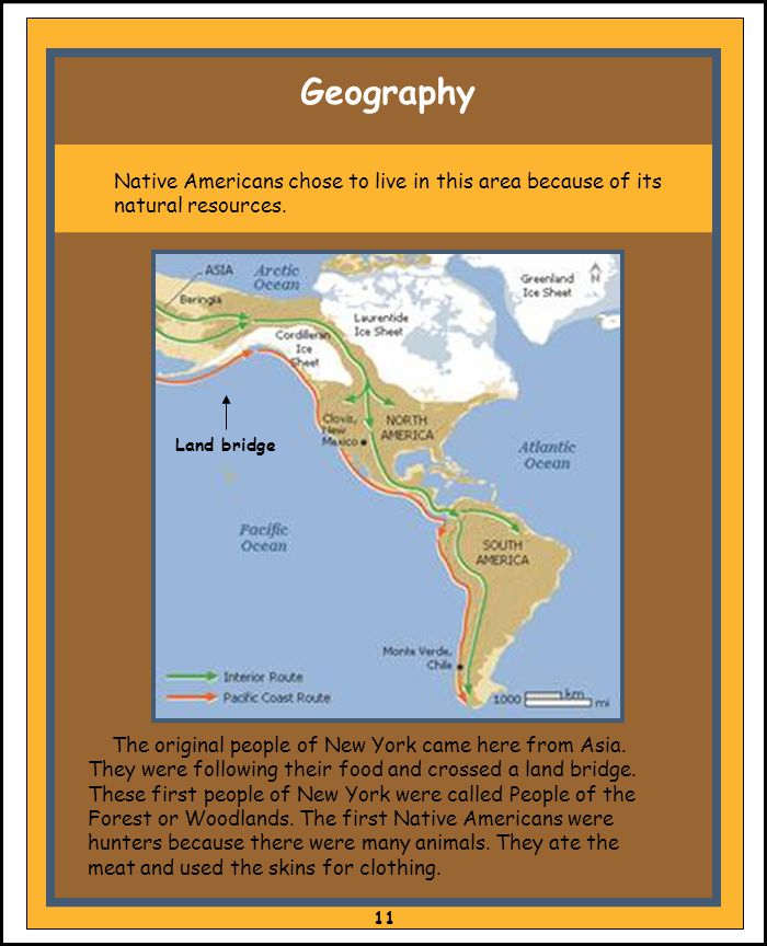Geography Native Americans chose to live in this area because of its natural resources. Land bridge.