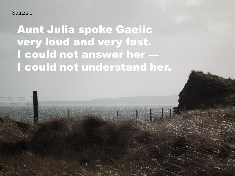 Stanza 1 Aunt Julia spoke Gaelic very loud and very fast.