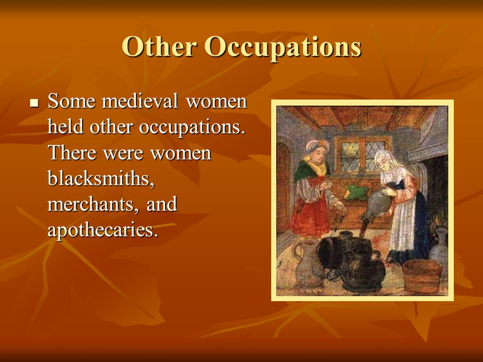 Other Occupations Some medieval women held other occupations.