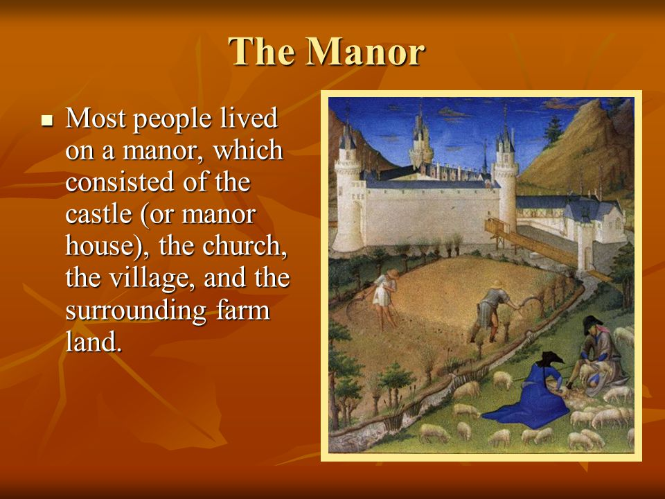 The Manor Most people lived on a manor, which consisted of the castle (or manor house), the church, the village, and the surrounding farm land.