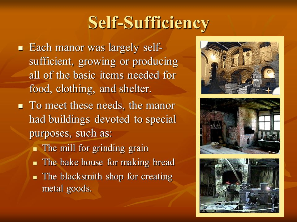 Self-Sufficiency Each manor was largely self-sufficient, growing or producing all of the basic items needed for food, clothing, and shelter.
