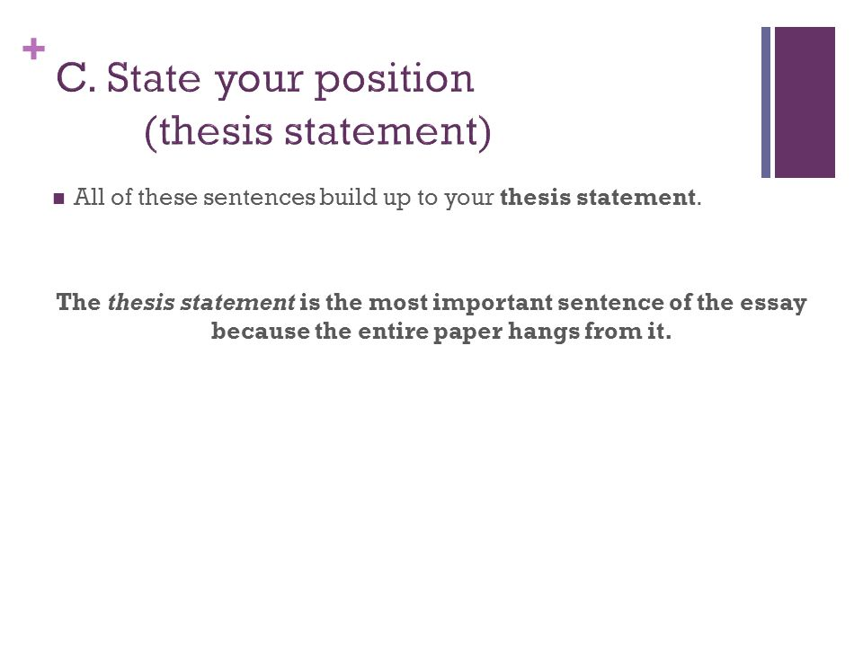 C. State your position (thesis statement)