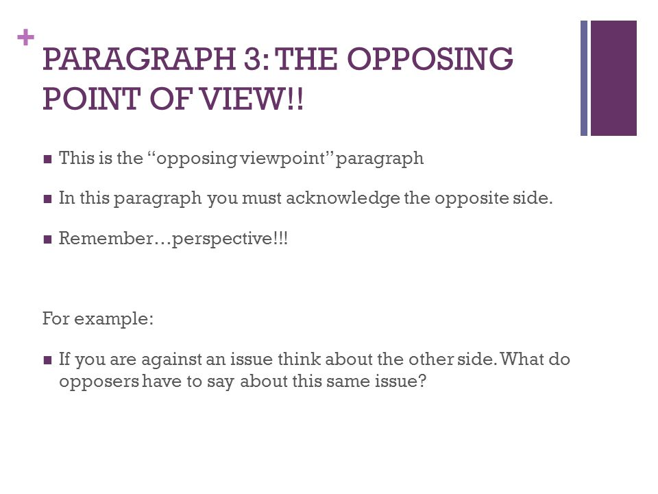 PARAGRAPH 3: THE OPPOSING POINT OF VIEW!!