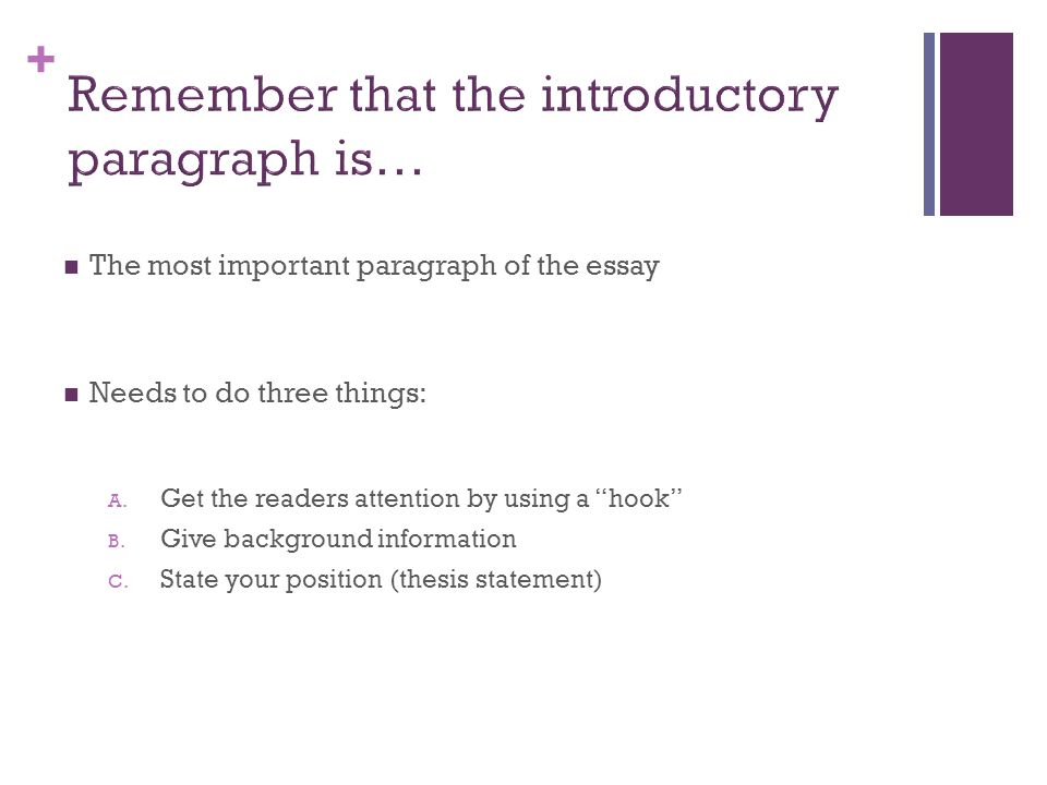 Remember that the introductory paragraph is…
