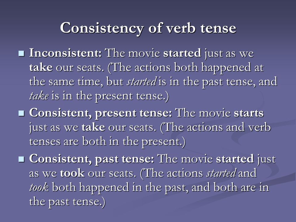 Consistency of verb tense ppt video online download – Verb Tense Consistency Worksheet