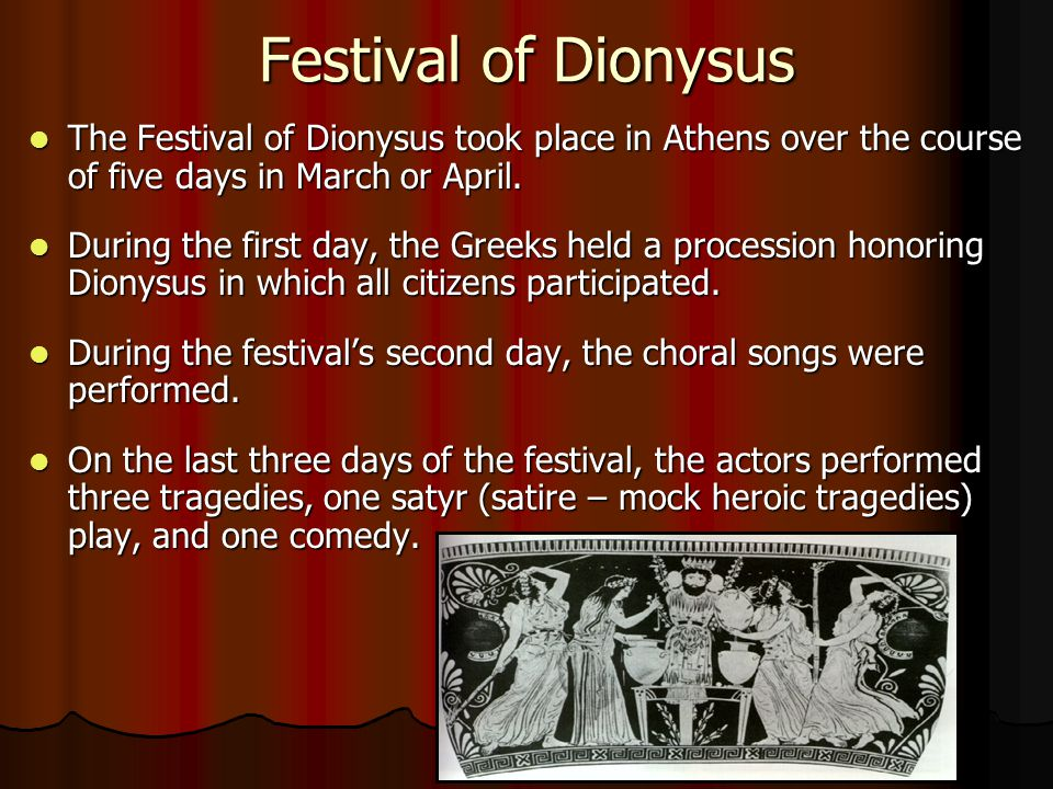 Festival of Dionysus The Festival of Dionysus took place in Athens over the course of five days in March or April.