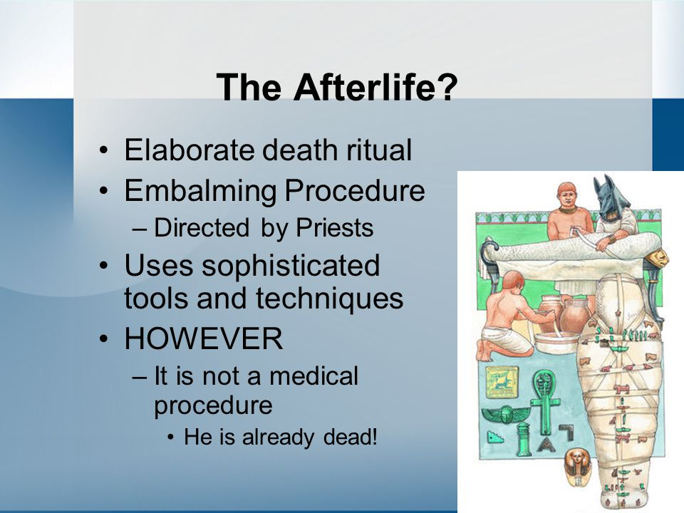 The Afterlife Elaborate death ritual Embalming Procedure