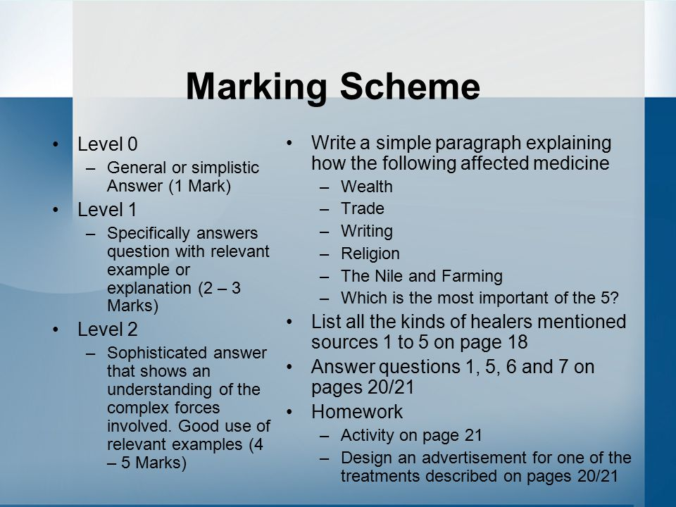 Marking Scheme Level 0. General or simplistic Answer (1 Mark) Level 1.