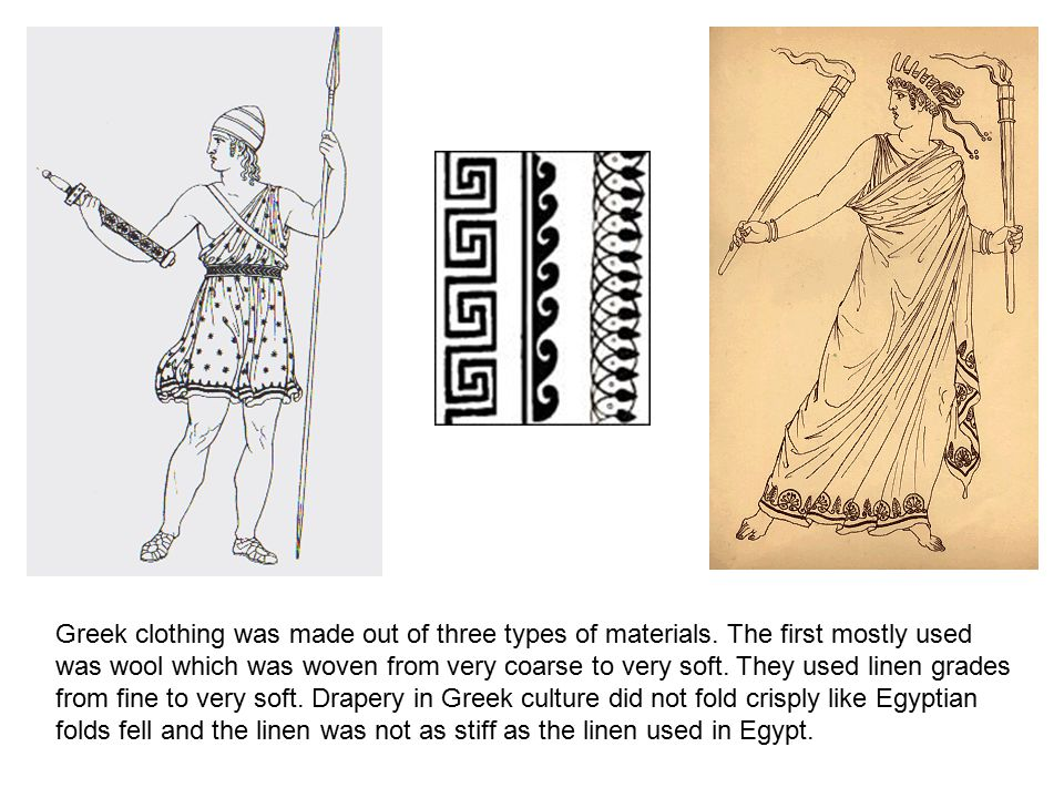 Greek clothing was made out of three types of materials