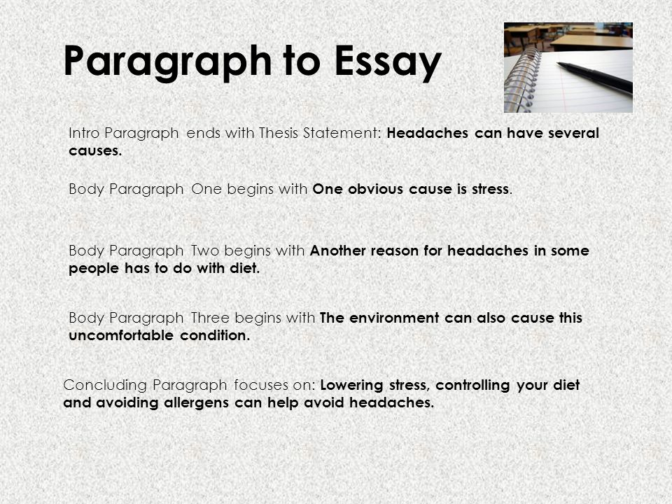 writing essays ppt  paragraph to essay intro paragraph ends thesis statement headaches can have several causes