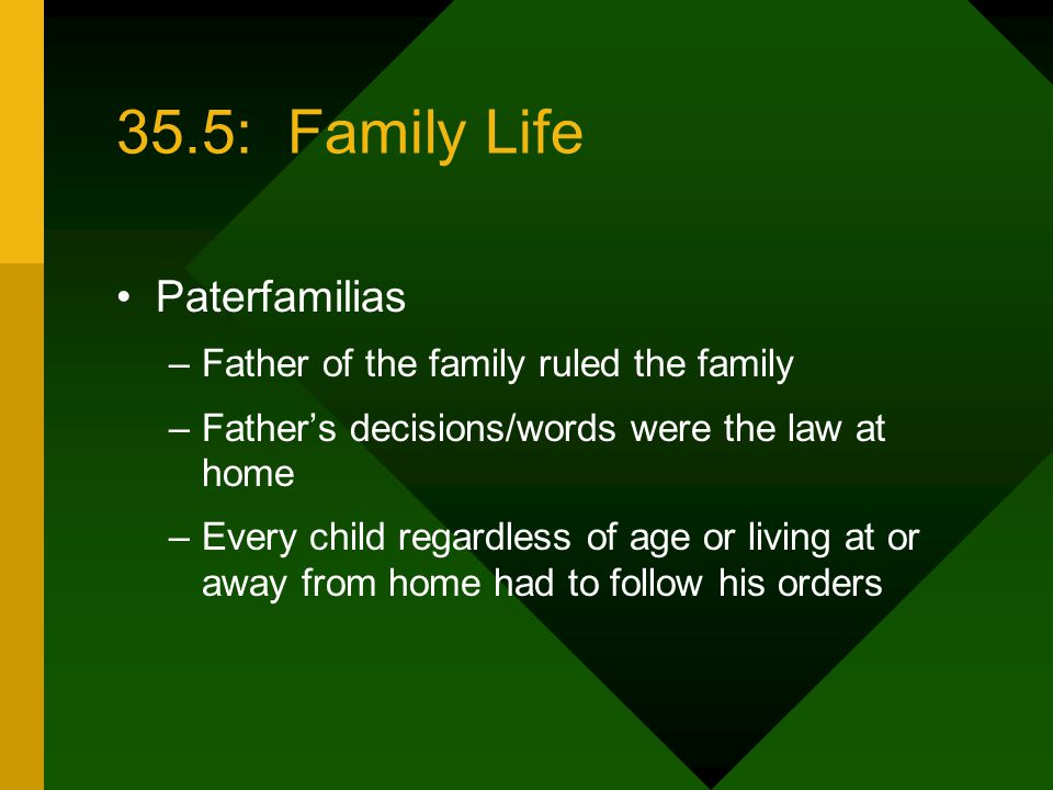 35.5: Family Life Paterfamilias Father of the family ruled the family