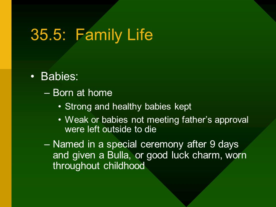 35.5: Family Life Babies: Born at home