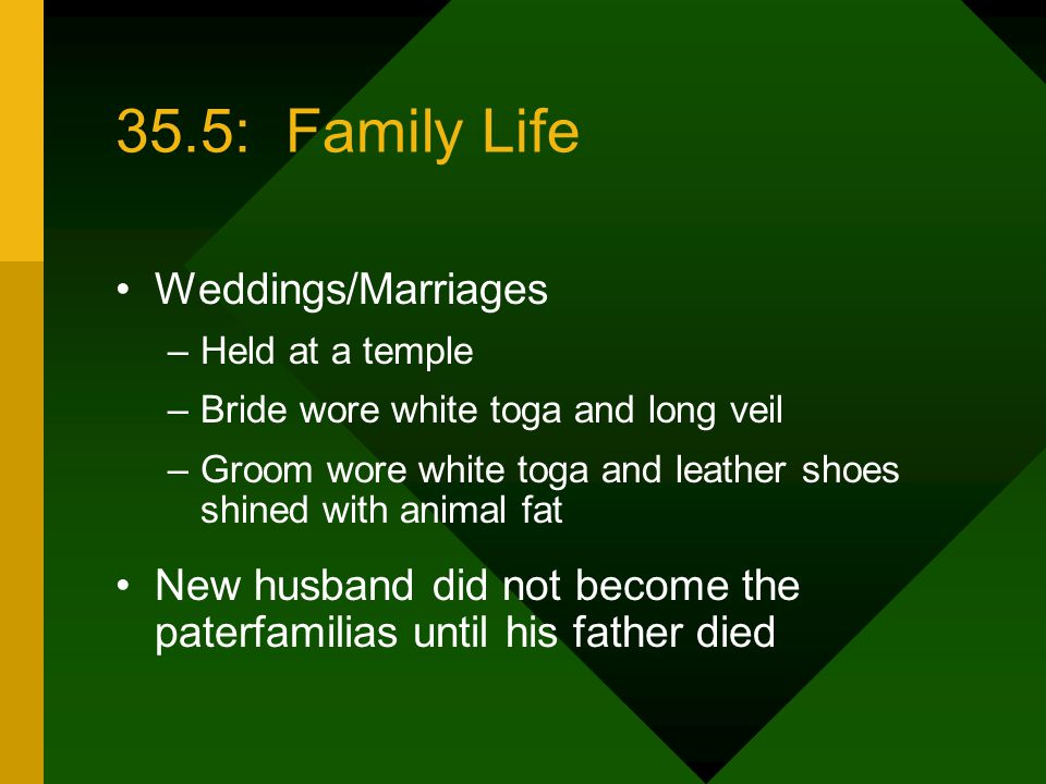 35.5: Family Life Weddings/Marriages