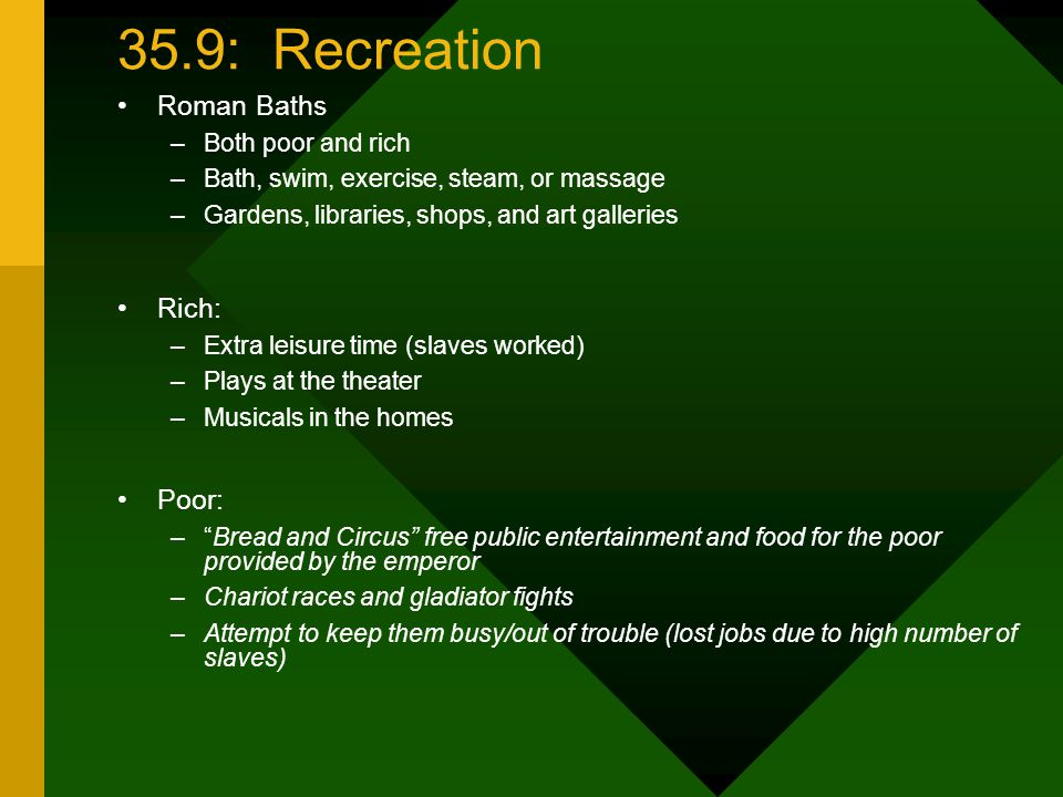 35.9: Recreation Roman Baths Rich: Poor: Both poor and rich