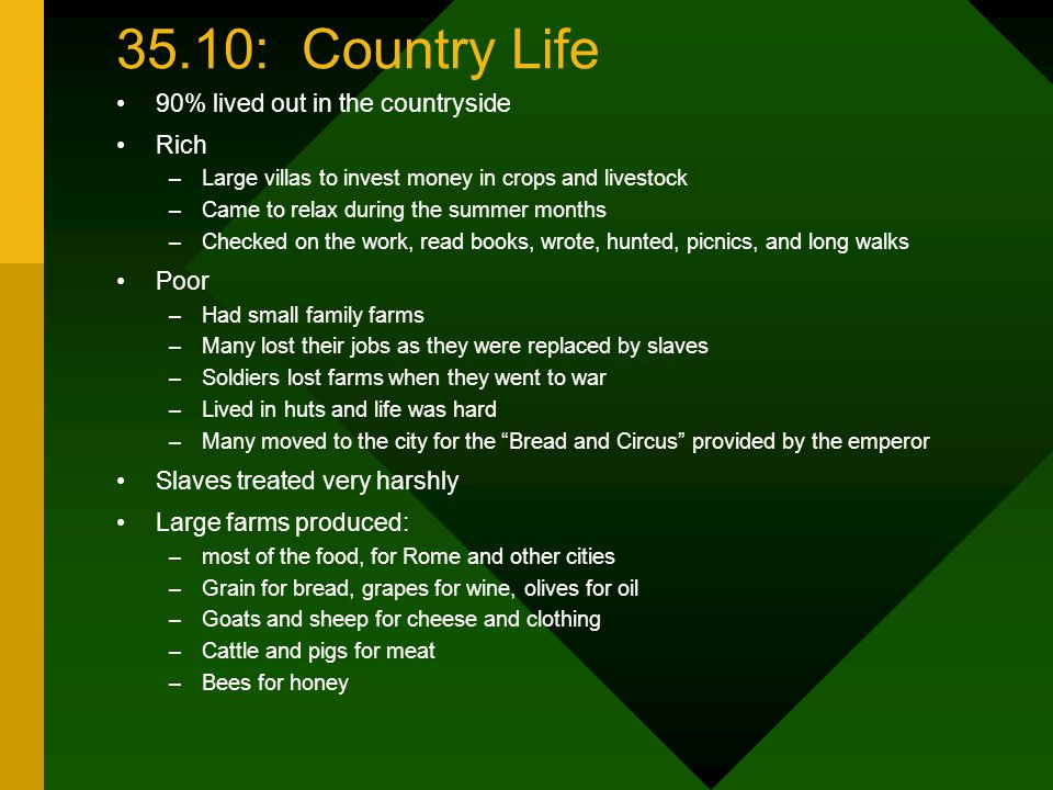 35.10: Country Life 90% lived out in the countryside Rich Poor