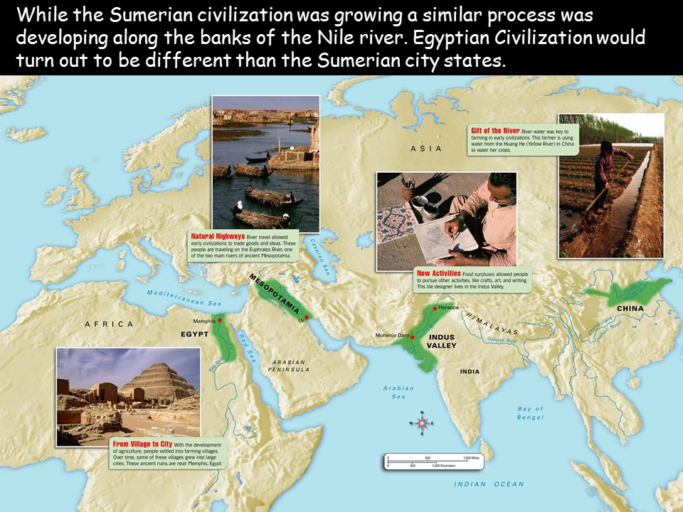 While the Sumerian civilization was growing a similar process was developing along the banks of the Nile river.