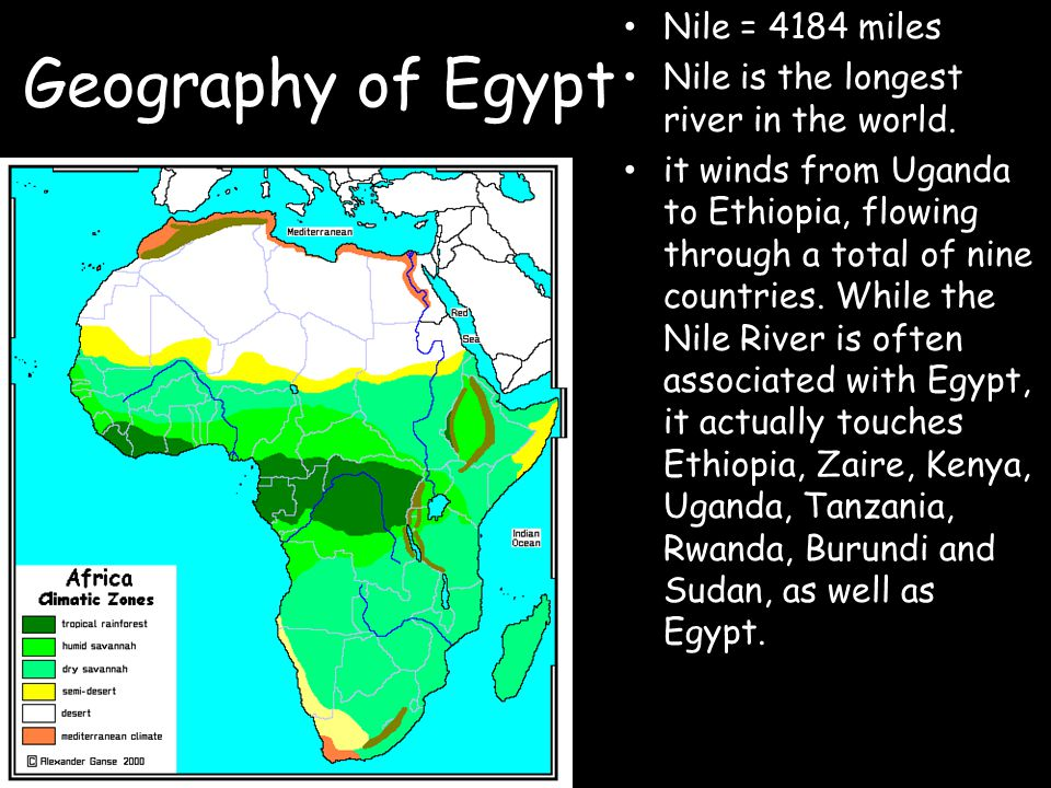 Geography of Egypt Nile = 4184 miles