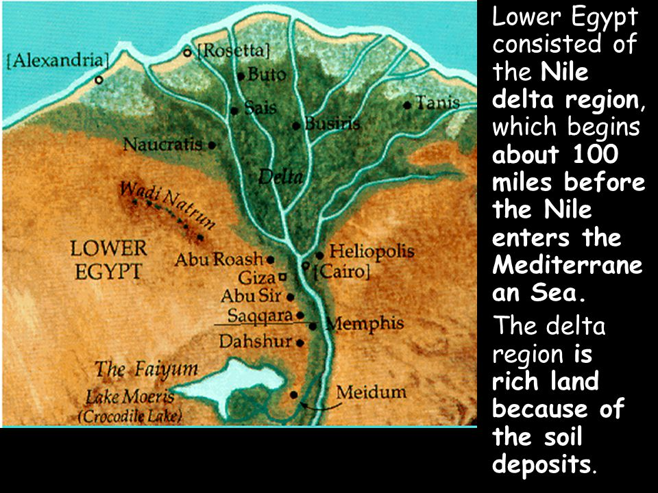 Lower Egypt consisted of the Nile delta region, which begins about 100 miles before the Nile enters the Mediterranean Sea.