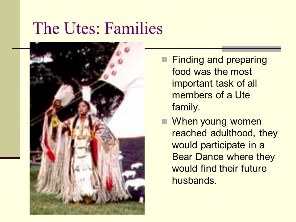 The Utes: Families Finding and preparing food was the most important task of all members of a Ute family.