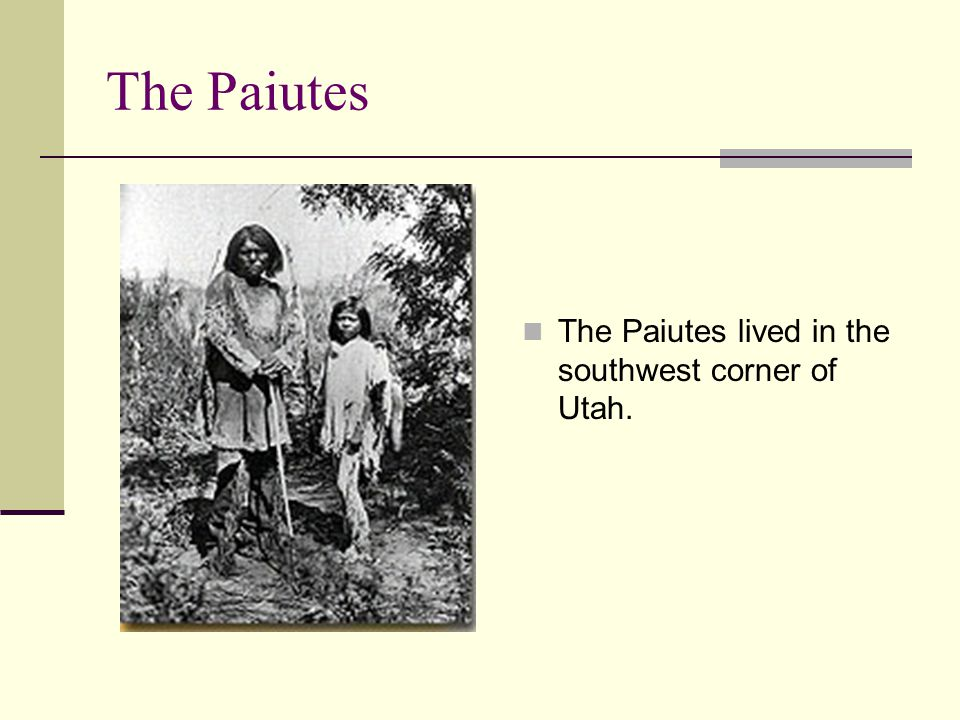 The Paiutes The Paiutes lived in the southwest corner of Utah.