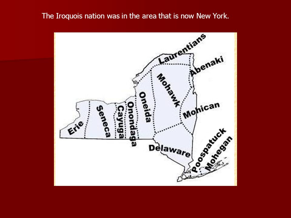 The Iroquois nation was in the area that is now New York.