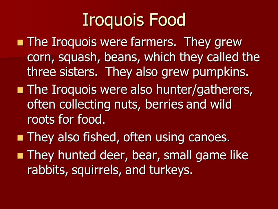 Iroquois Food The Iroquois were farmers. They grew corn, squash, beans, which they called the three sisters. They also grew pumpkins.